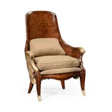 Empire Style Winged Chair, Upholstered in MAZO