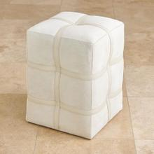 Belted Poof-Ivory Hair on Hide Leather