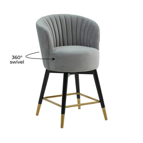 Tov Furniture - Liana Grey Velvet Swivel Stool