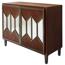 AURORA CHEST  34in X 40in X 16in  Modern Two Door Cabinet Featuring Mirror Accented Doors