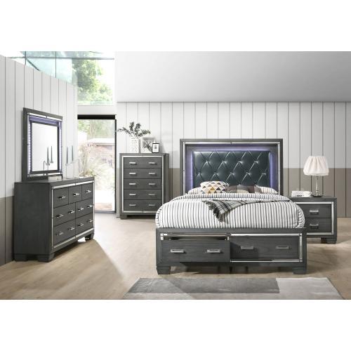 Titanium Storage Bedroom - King Storage Bed, Dresser, Mirror, Chest, and Night Stand
