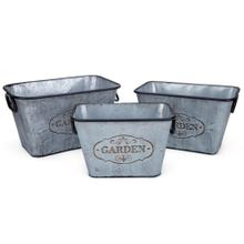Marin Galvanized Rectangular Planters - Set of 3