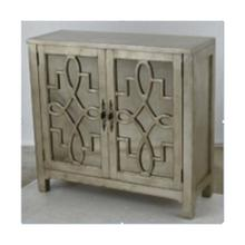 Laden 2-door Cabinet In Silver Leaf