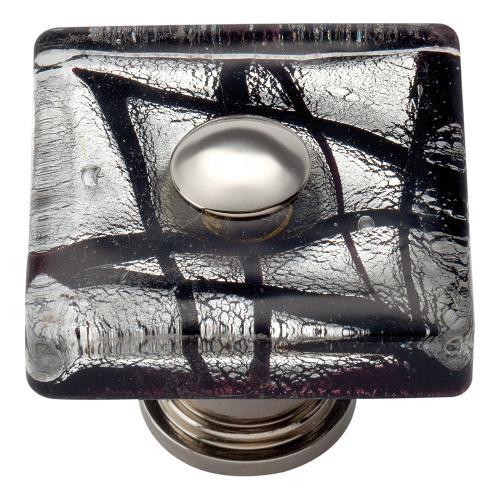Eclipse Glass Square Knob 1 1/2 Inch - Polished Chrome