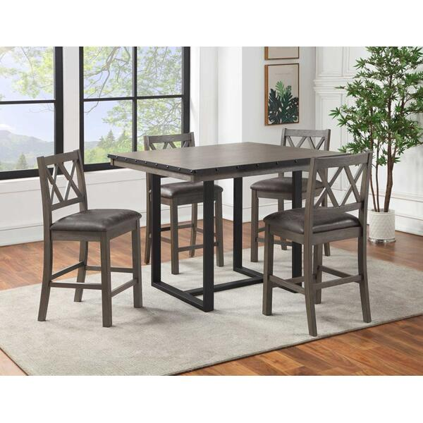 See Details - Lori 5-Piece Counter Dining Set (Counter Table & 4 Counter Chairs)