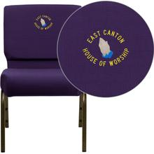 Embroidered HERCULES Series 21''W Stacking Church Chair in Royal Purple Fabric - Gold Vein Frame