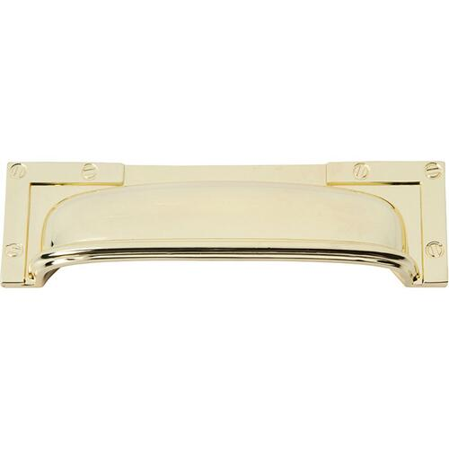 Campaign L-Bracket Cup Pull 3 3/4 Inch (c-c) - Polished Brass