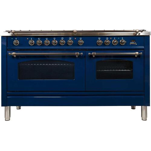 Nostalgie 60 Inch Dual Fuel Natural Gas Freestanding Range in Blue with Bronze Trim