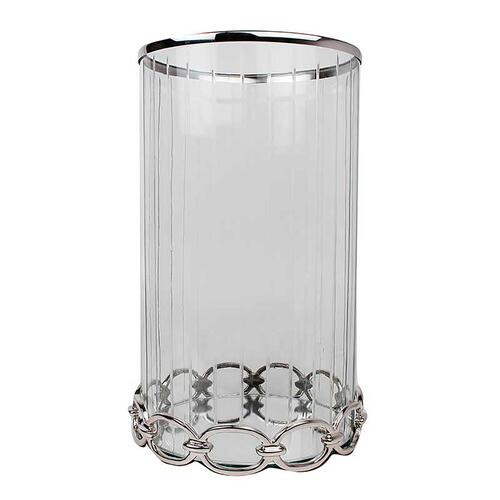Nickel & Glass Candle Holder