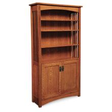 See Details - Mission Bookcase with Wood Doors on Bottom, 4 Adjustable Shelves