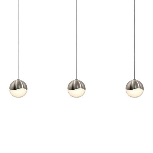 Sonneman - A Way of Light - Grapes® LED Pendant [Size=3-Light Medium, Color/Finish=Satin Nickel, Shape=Rectangle Canopy]
