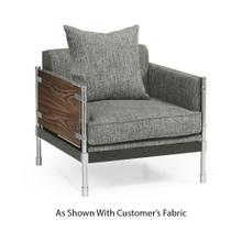 View Product - Campaign Style Dark Santos Rosewood Sofa Chair, Upholstered in COM