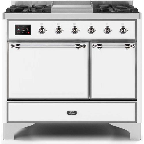 Ilve - Majestic II 40 Inch Dual Fuel Natural Gas Freestanding Range in White with Chrome Trim