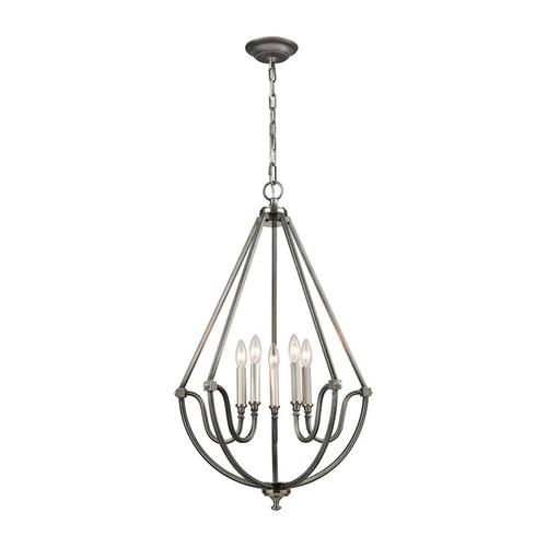 Stanton 5-Light Chandelier in Brushed Nickel and Weathered Zinc