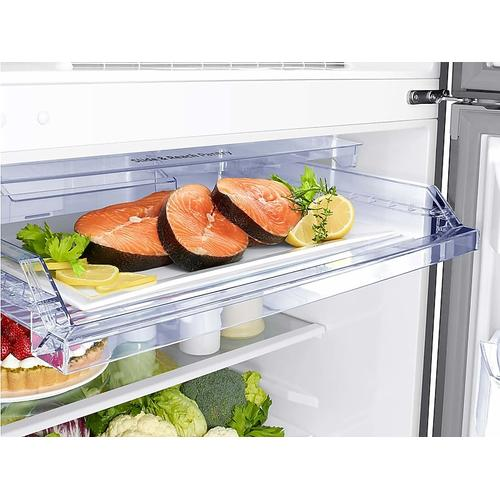 Samsung - 18 cu. ft. Top Freezer Refrigerator with FlexZone™ in Stainless Steel