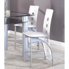 "Metal Contemporary 24"" Counter Height Chairs in White Set of 2"