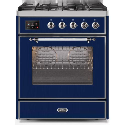 Majestic II 30 Inch Dual Fuel Natural Gas Freestanding Range in Blue with Chrome Trim
