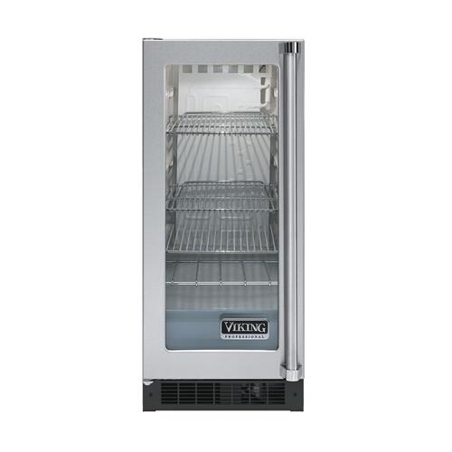 "Viking - Stainless Steel 15"" Glass Door Beverage Centers - VUAR (White Interior, Clear Glass, Left Hinge)"