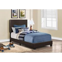 BED - TWIN SIZE / DARK BROWN LEATHER-LOOK