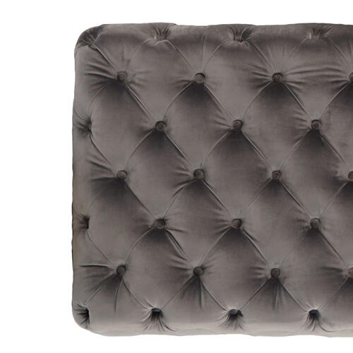 Rectangular Button Tufted Cocktail Ottoman in Luxor Flannel
