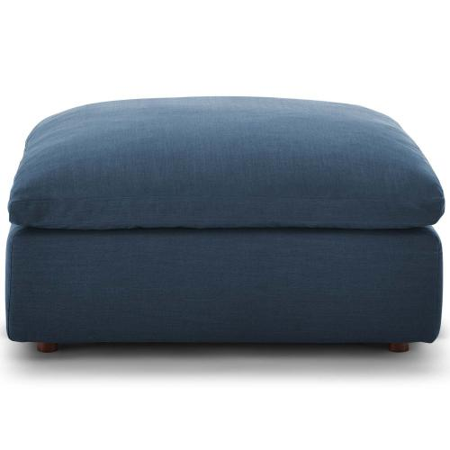 Commix Down Filled Overstuffed Ottoman in Azure