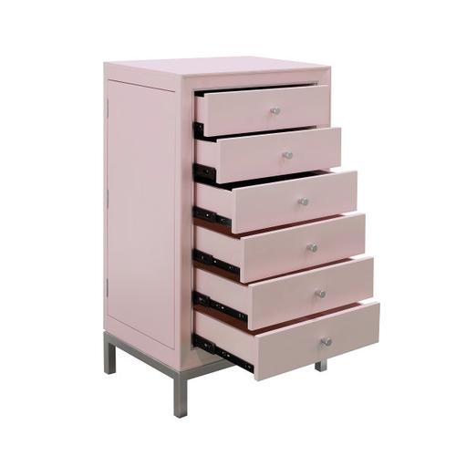 Modern Six Drawer Jewelry Armoire in Pink & Silver