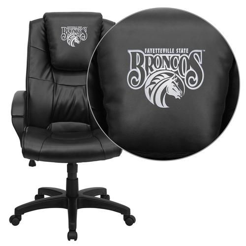 Fayetteville State University Broncos Embroidered Black Leather Executive Office Chair
