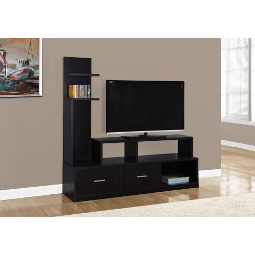 "TV STAND - 60""L / ESPRESSO WITH A DISPLAY TOWER"