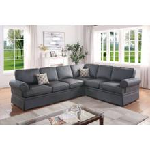 Dori 2pc Sectional Sofa Set, Charcoal-glossy