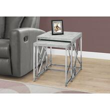 NESTING TABLE - 2PCS SET / GREY CEMENT WITH CHROME METAL