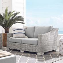 Conway Sunbrella® Outdoor Patio Wicker Rattan Loveseat in Light Gray Gray