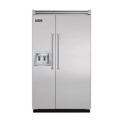 """Viking - Metallic Silver 48"""" Quiet Cool™ Side-by-Side with dispenser - VISB Tru-Flush™ (48"""" wide)"""