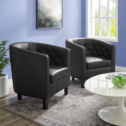 Prospect Upholstered Vinyl Armchair Set of 2 in Black
