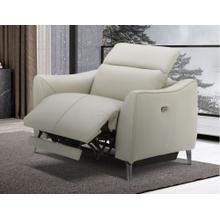 Divani Casa Prairie Light Grey Leather Electric Recliner with Electric Headrest