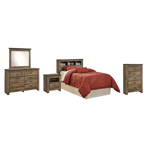 Twin Bookcase Headboard With Mirrored Dresser, Chest and Nightstand