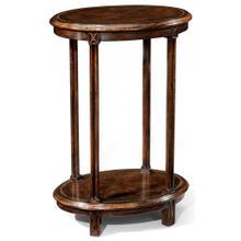 Dark walnut oval lamp table