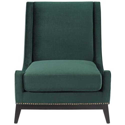 Confident Accent Upholstered Performance Velvet Lounge Chair in Green