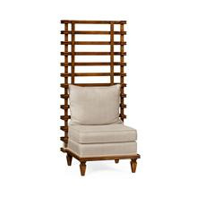 Unusual occasional chair upholstered in Mazo
