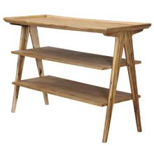 Rectangular 3 Tier Sofa Table Finished in a light natural color. Made of acacia veneers and solids