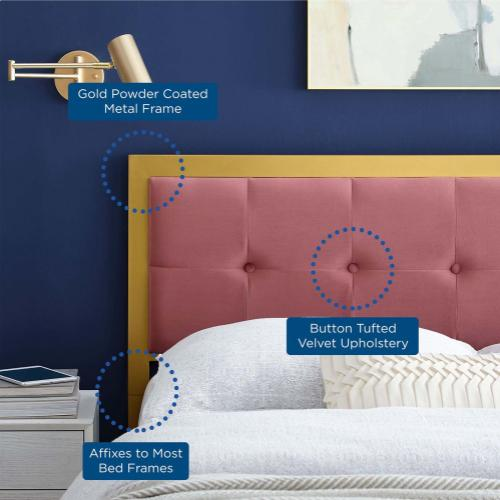 Modway - Teagan Tufted Queen Performance Velvet Headboard in Gold Dusty Rose
