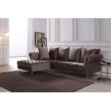 Divani Casa Temple Modern Light Grey Velvet Sectional Sofa