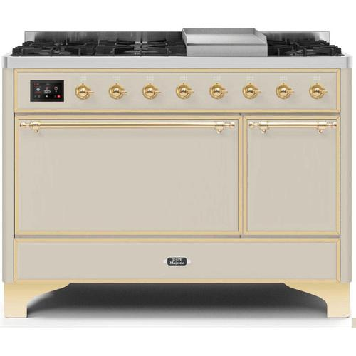 Gallery - Majestic II 48 Inch Dual Fuel Natural Gas Freestanding Range in Antique White with Brass Trim