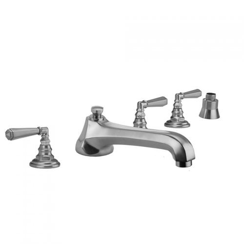Jaclo - Antique Copper - Westfield Roman Tub Set with Low Spout and Hex Lever Handles and Straight Handshower Mount