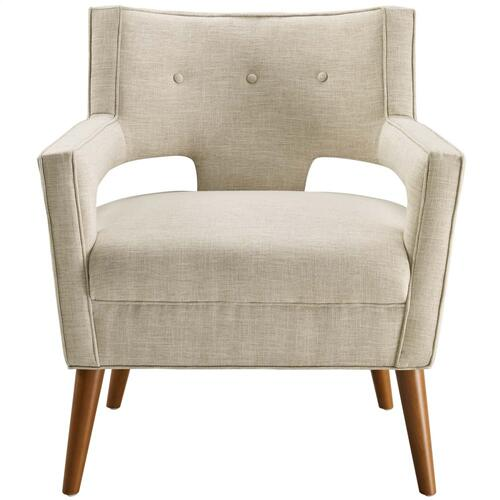 Sheer Upholstered Fabric Armchair in Sand