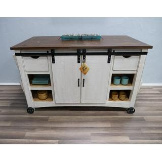 Weathered White Kitchen Island