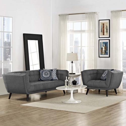Modway - Bestow 2 Piece Upholstered Fabric Sofa and Armchair Set in Gray