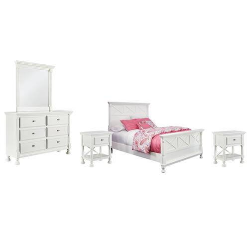 Ashley - Full Panel Bed With Mirrored Dresser and 2 Nightstands