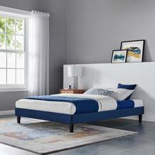 Reign Twin Performance Velvet Platform Bed Frame in Navy