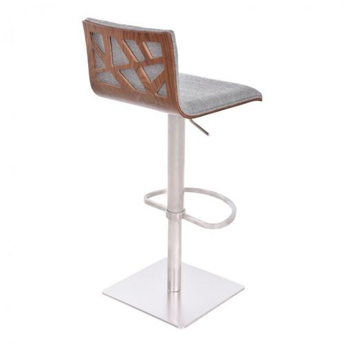 Armen Living Crystal Barstool in Brushed Stainless Steel finish with Grey Fabric and Walnut Back