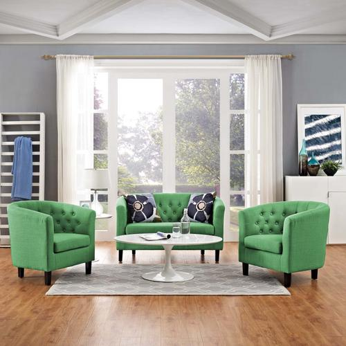 Modway - Prospect 3 Piece Upholstered Fabric Loveseat and Armchair Set in Green